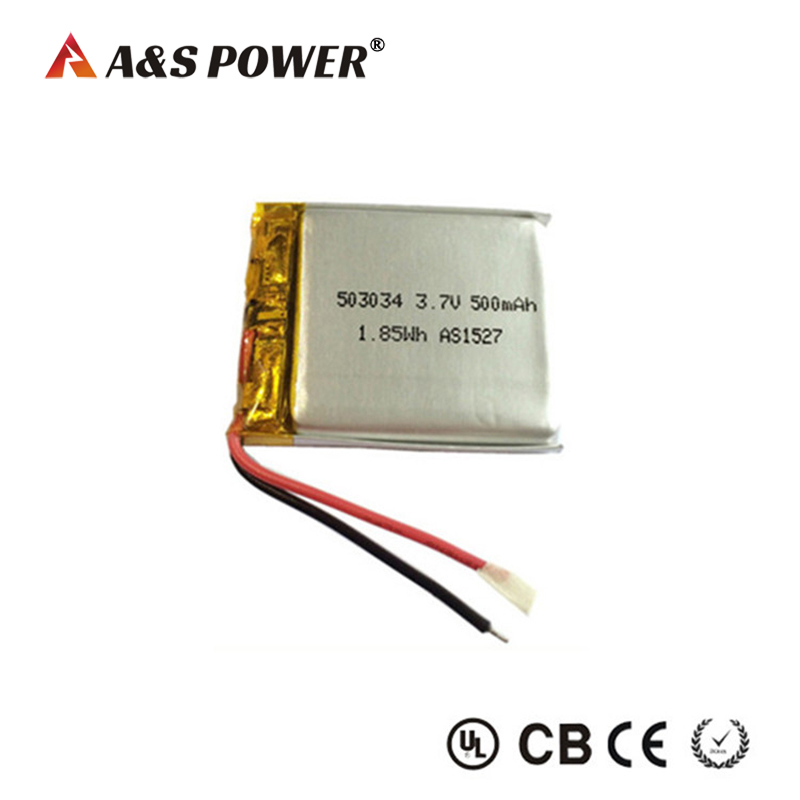 503034 3.7v 500mah lipo battery for bluetooth headphone