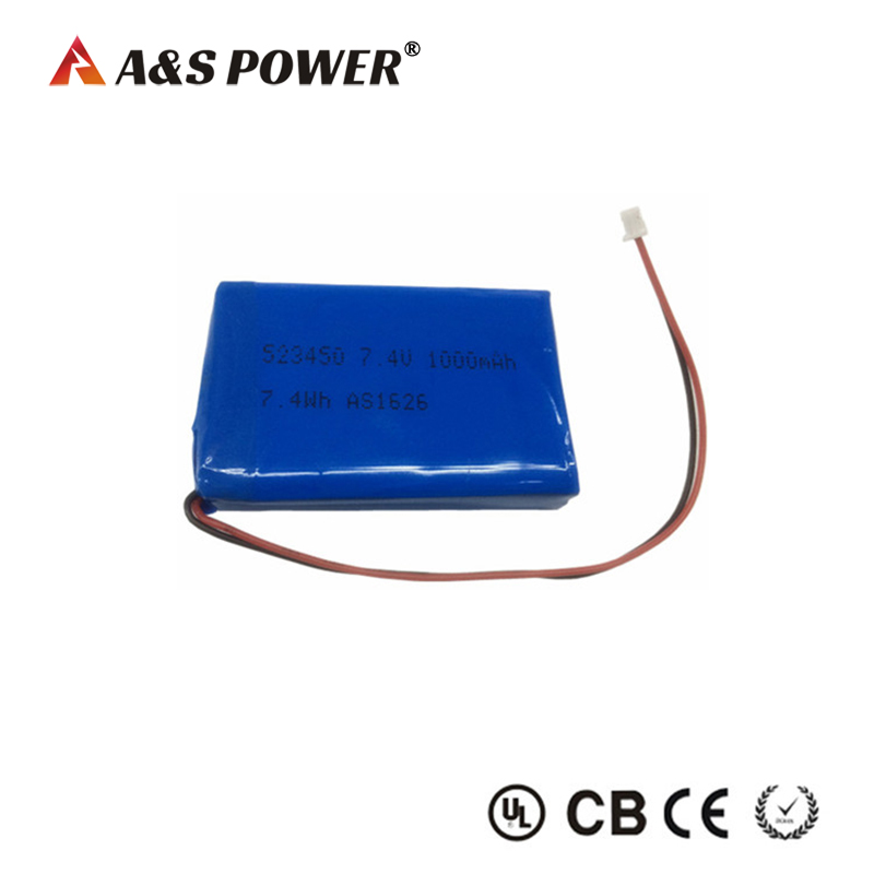 UL approval 523450 7.4v 1000mah lipo battery pack for led light