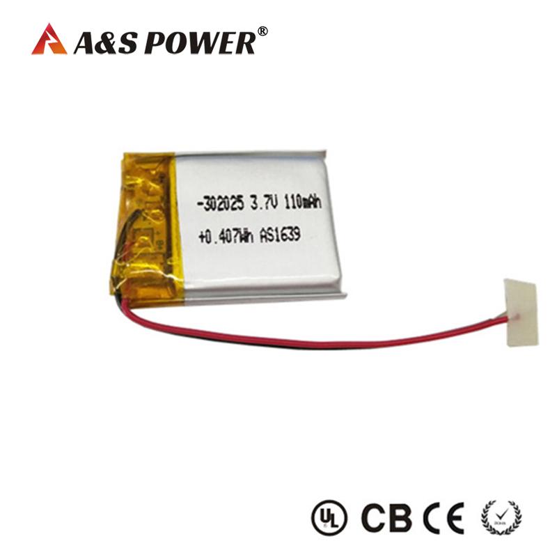 UL 302025 3.7v 110mah li-poymer battery for bluetooth massager