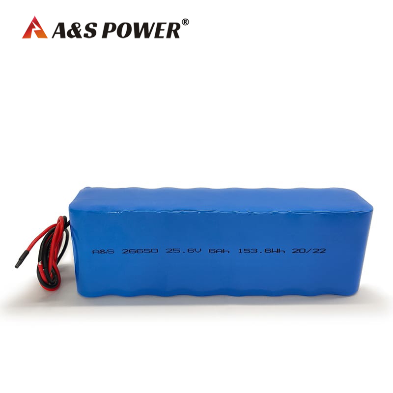IEC62133 certified 25.6V 6Ah LiFePo4 Battery Pack