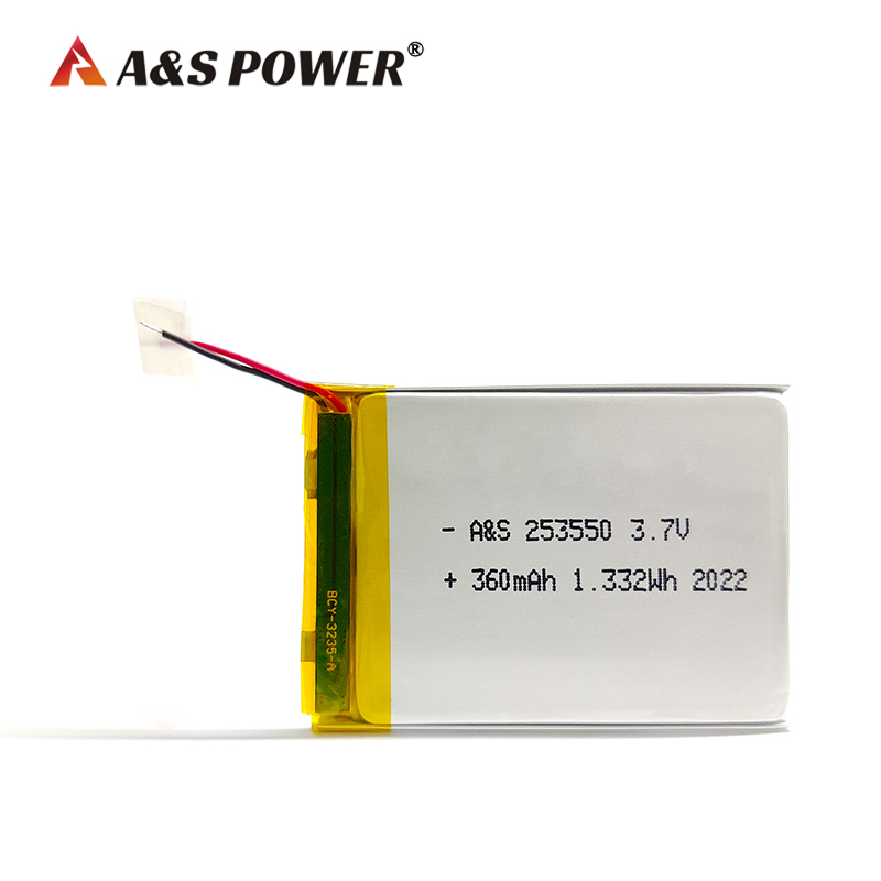 Ultra thin 253550 3.7v 360mah Lipo battery with IEC62133 certificate